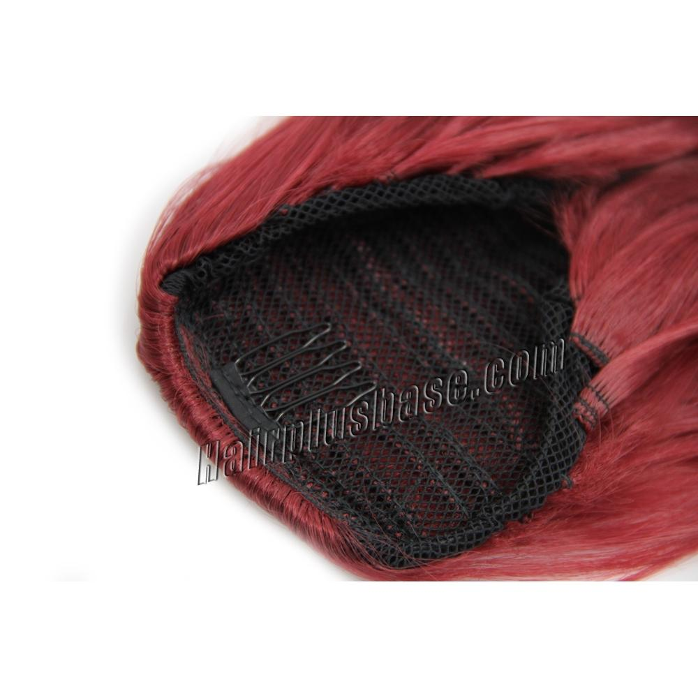 32 Inch Trendy Drawstring Human Hair Ponytail Curly Red no 3