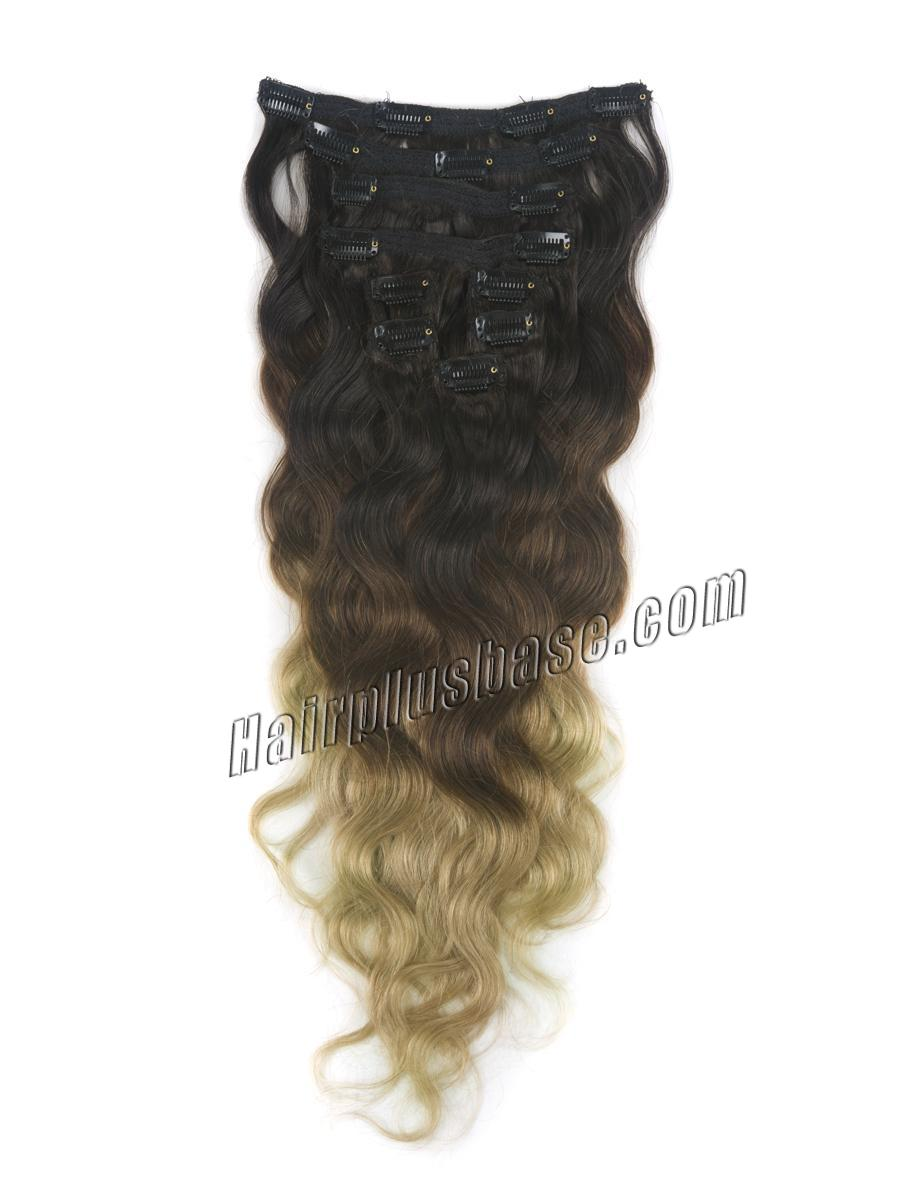 32 Inch Trendy Three Colors Ombre Indian Remy Clip In Hair Extensions Body Wave 9pcs no 1
