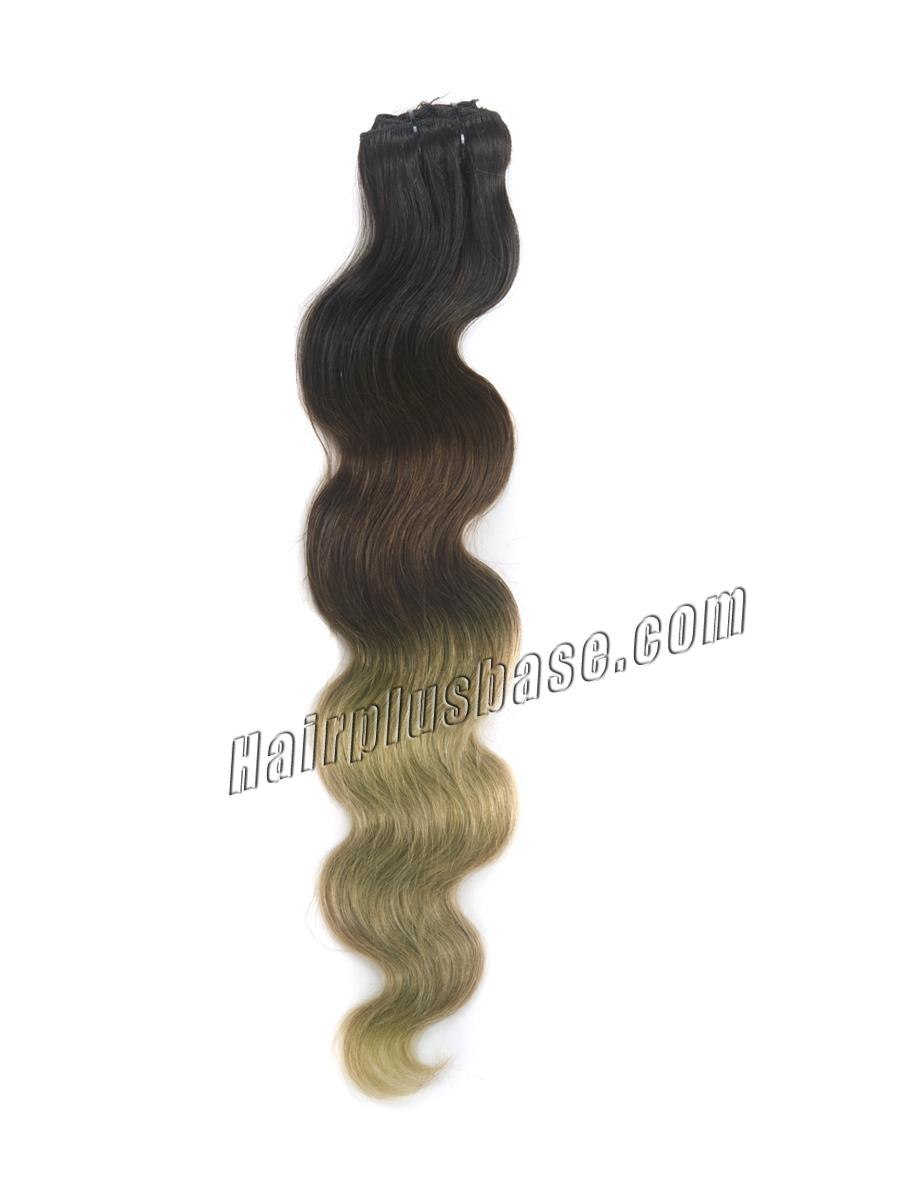 32 Inch Trendy Three Colors Ombre Indian Remy Clip In Hair Extensions Body Wave 9pcs no 2