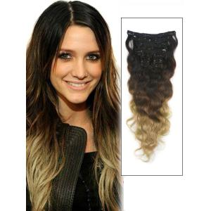 32 Inch Trendy Three Colors Ombre Indian Remy Clip In Hair Extensions Body Wave 9pcs