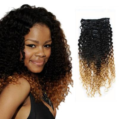 32 Inch Two Tone Ombre Clip in Hair Extensions Bright Small Curly 9 Pieces