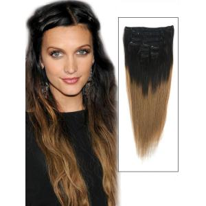 32 Inch Vivid Ombre Clip in Hair Extensions Two Tone Straight 9 Pieces