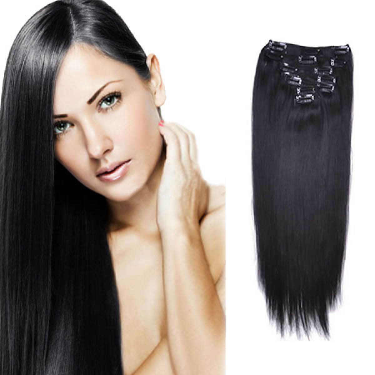 34 Inch 1 Jet Black Clip In Human Hair Extensions 11pcs