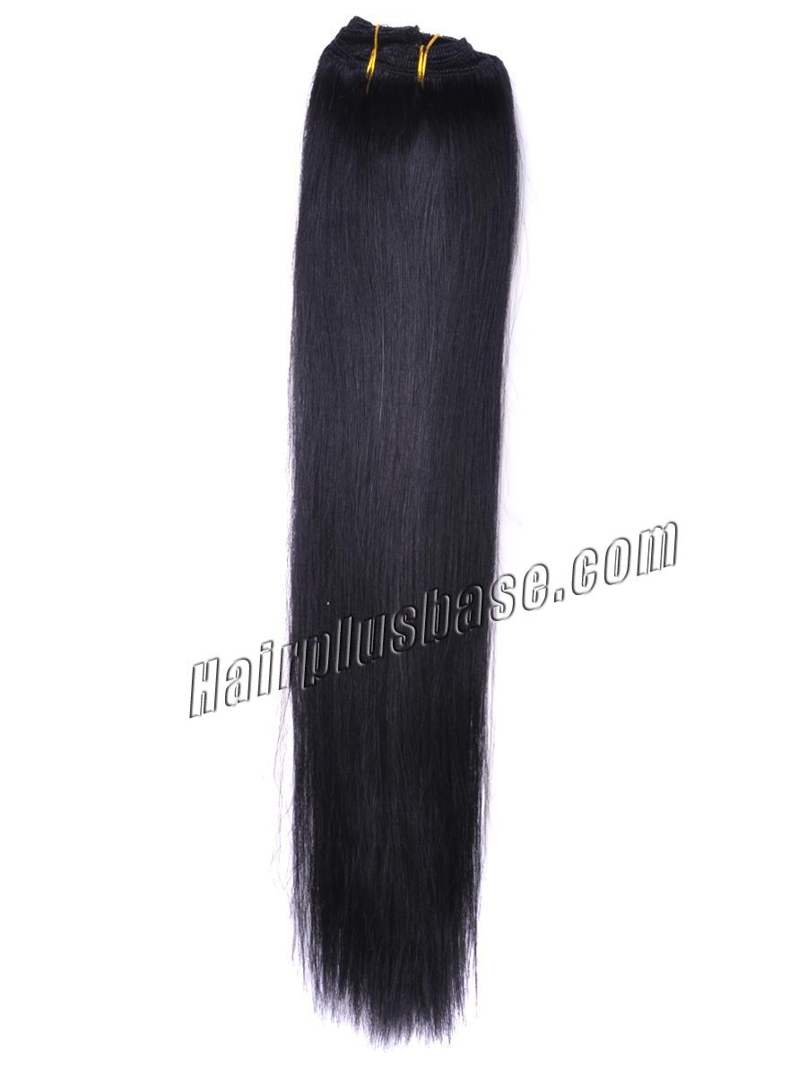 34 inch  1 jet black clip in remy human hair extensions 7pcs 10813 1v