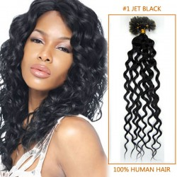 34 Inch 100 Strands More Shaped Curly Nail / U Tip Hair Extensions #1 Jet Black