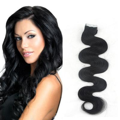 34 Inch #1 Jet Black Long Tape In Hair Extensions Body Wave 20 Pcs