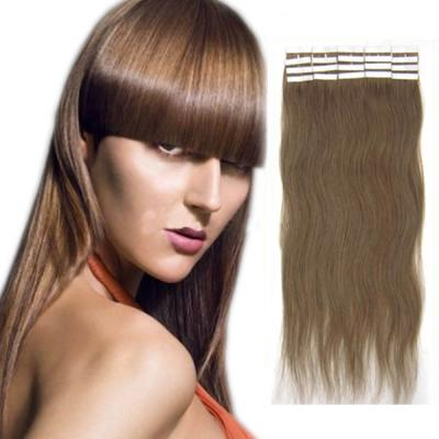 34 Inch #12 Golden Brown Tape In Human Hair Extensions 20pcs