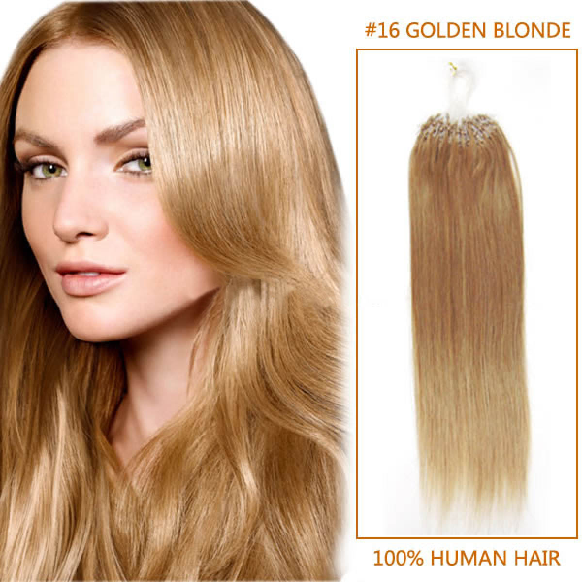 34 Inch 16 Golden Blonde Micro Loop Human Hair Extensions 100s 130g