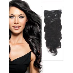 34 Inch #1B Natural Black Clip In Remy Hair Extensions Body Wave 11 Pcs