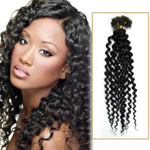 34 Inch 100s High Grade Curly Nail / U Tip Hair Extensions #1B Natural Black