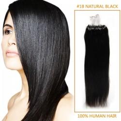 34 Inch #1b Natural Black Micro Loop Human Hair Extensions 100S 130g
