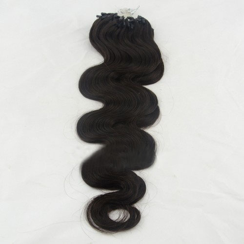 34 inch  1b natural black supple body wave micro loop hair extensions 100 strands 21726 0v