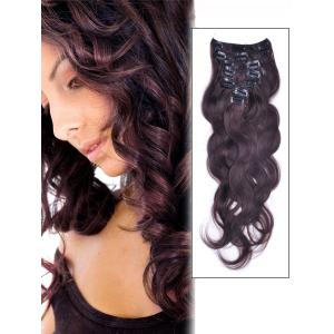34 Inch #2 Dark Brown Clip In Human Hair Extensions Body Wave 11 Pcs