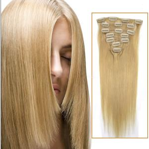 34 Inch #24 Ash Blonde Clip In Human Hair Extensions 11pcs