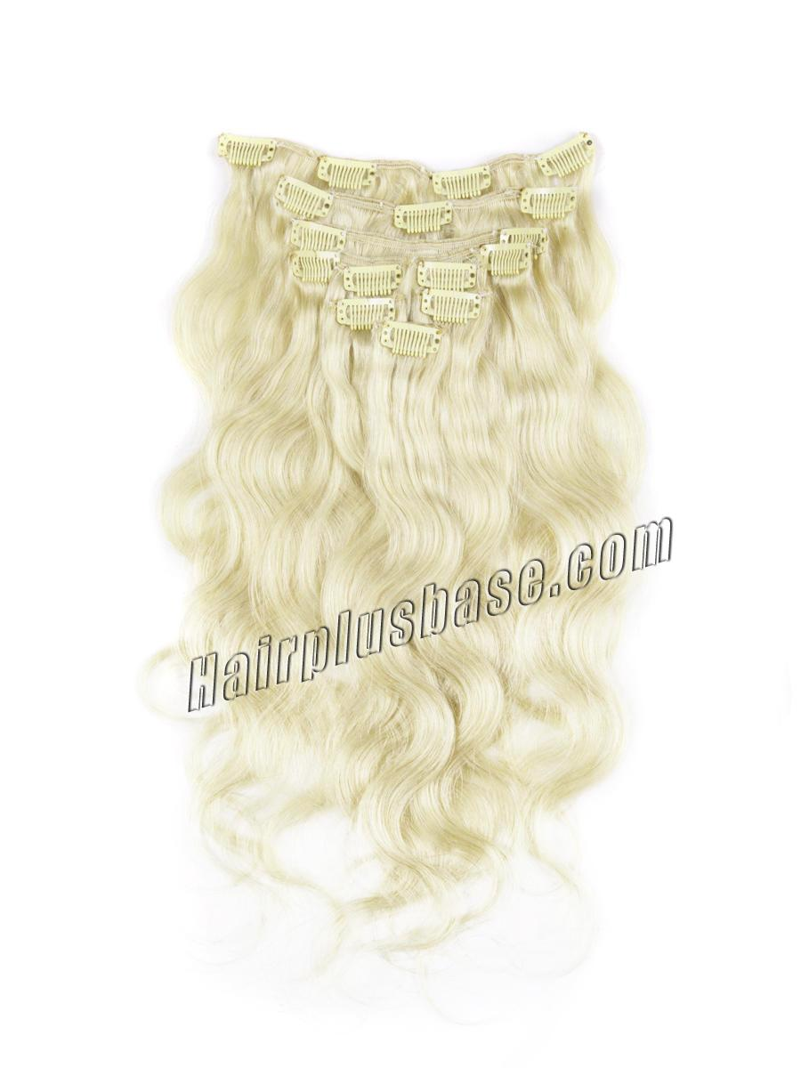 34 inch  24 ash blonde clip in human hair extensions body wave 11 pieces 21133 0v