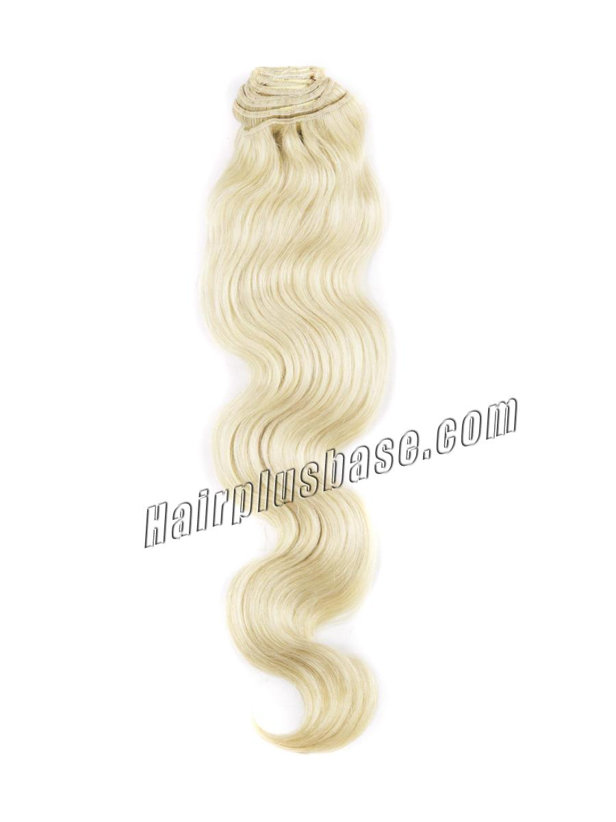 34 inch  24 ash blonde clip in human hair extensions body wave 11 pieces 21133 2v