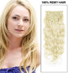 34 Inch #24 Ash Blonde Clip In Human Hair Extensions Body Wave 11 Pieces