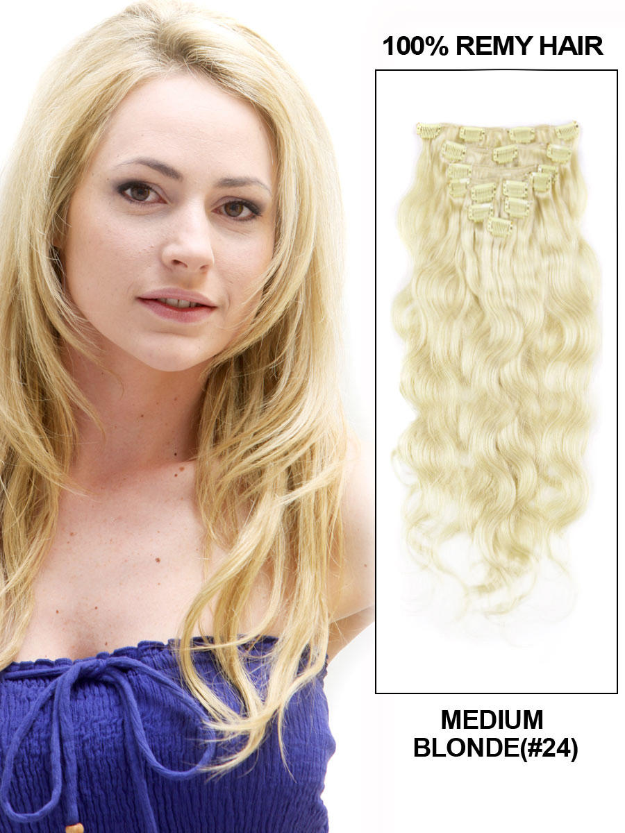 34 inch  24 ash blonde clip in human hair extensions body wave 11 pieces 21133 t