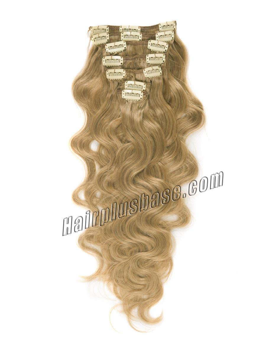 34 inch  27 strawberry blonde clip in indian remy hair extensions body wave 11 pcs 21142 0v