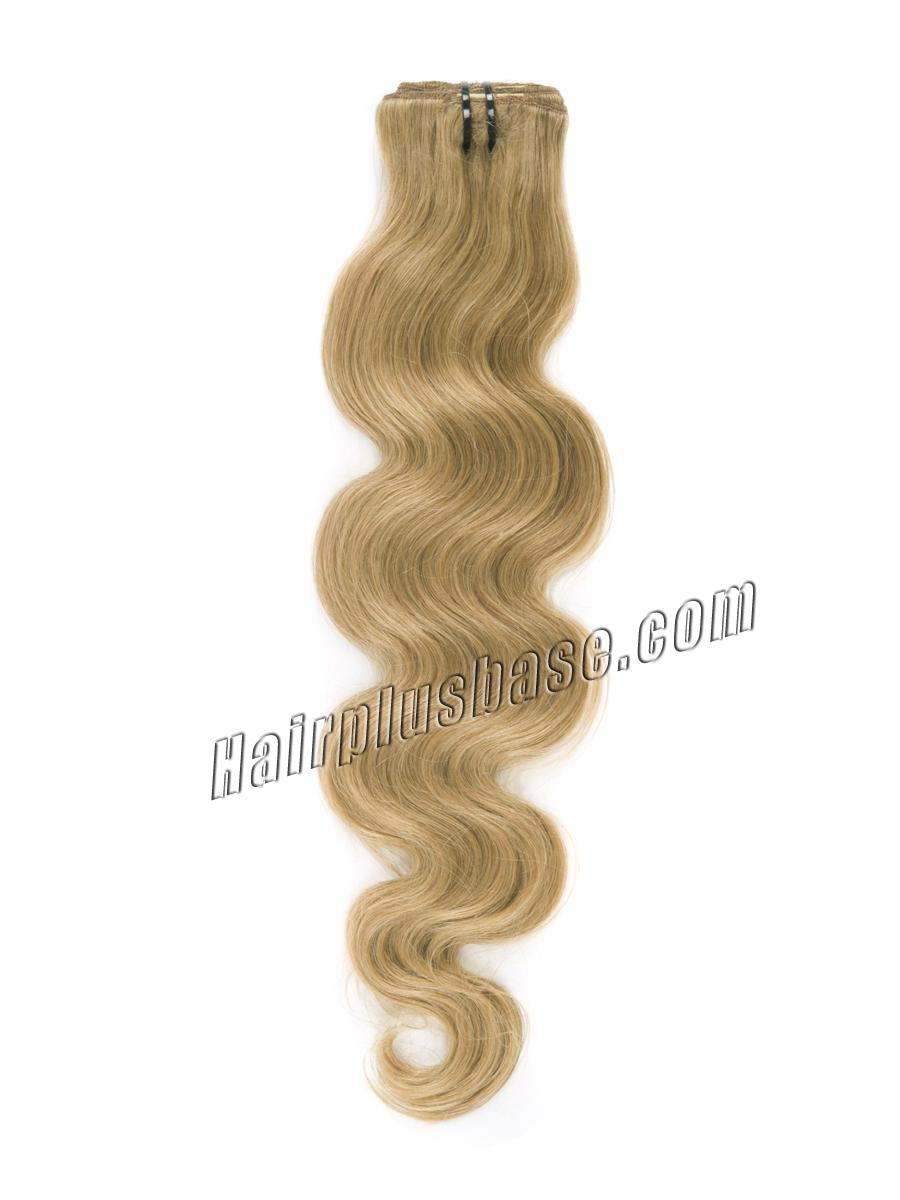 34 inch  27 strawberry blonde clip in indian remy hair extensions body wave 11 pcs 21142 1v