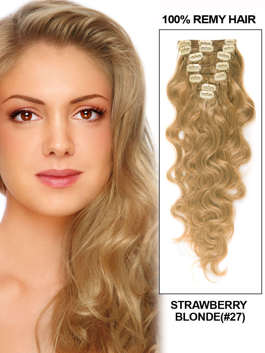 34 inch  27 strawberry blonde clip in indian remy hair extensions body wave 11 pcs 21142 t
