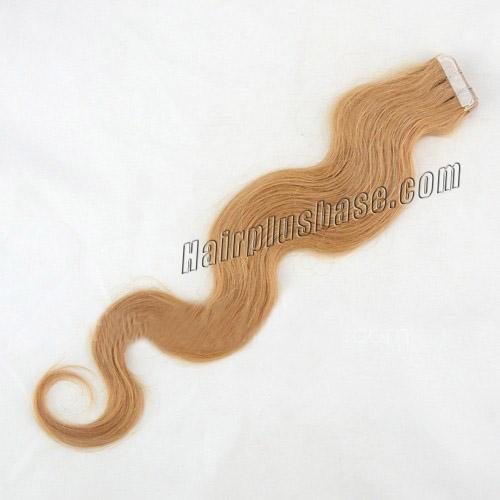 34 inch  27 strawberry blonde tape in hair extensions glossy body wave 20 pcs 21368 1v
