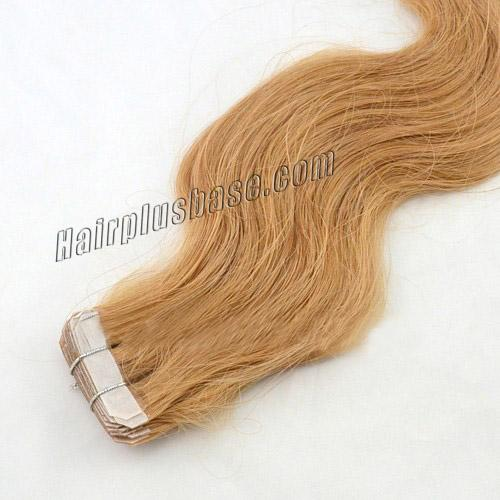 34 inch  27 strawberry blonde tape in hair extensions glossy body wave 20 pcs 21368 2v