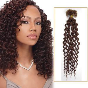 34 Inch 100s Curly Firm Nail / U Tip Hair Extensions #33 Dark Auburn