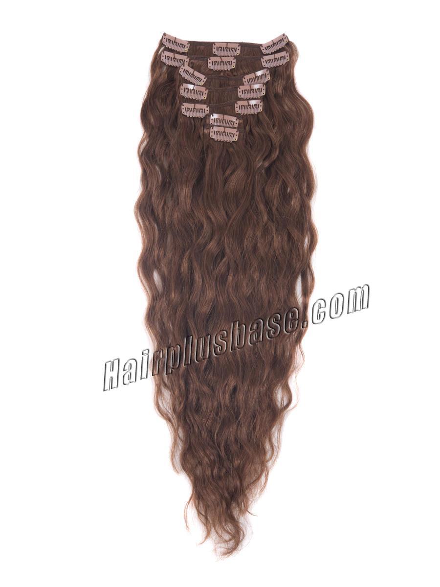 34 inch  33 dark auburn full head clip in hair extensions loose wavy 11 pcs 21223 0v
