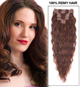 34 Inch #33 Dark Auburn Full Head Clip In Hair Extensions Loose Wavy 11 Pcs