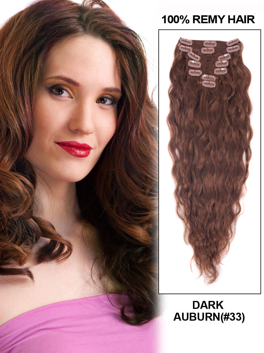 34 Inch 33 Dark Auburn Full Head Clip In Hair Extensions Loose Wavy