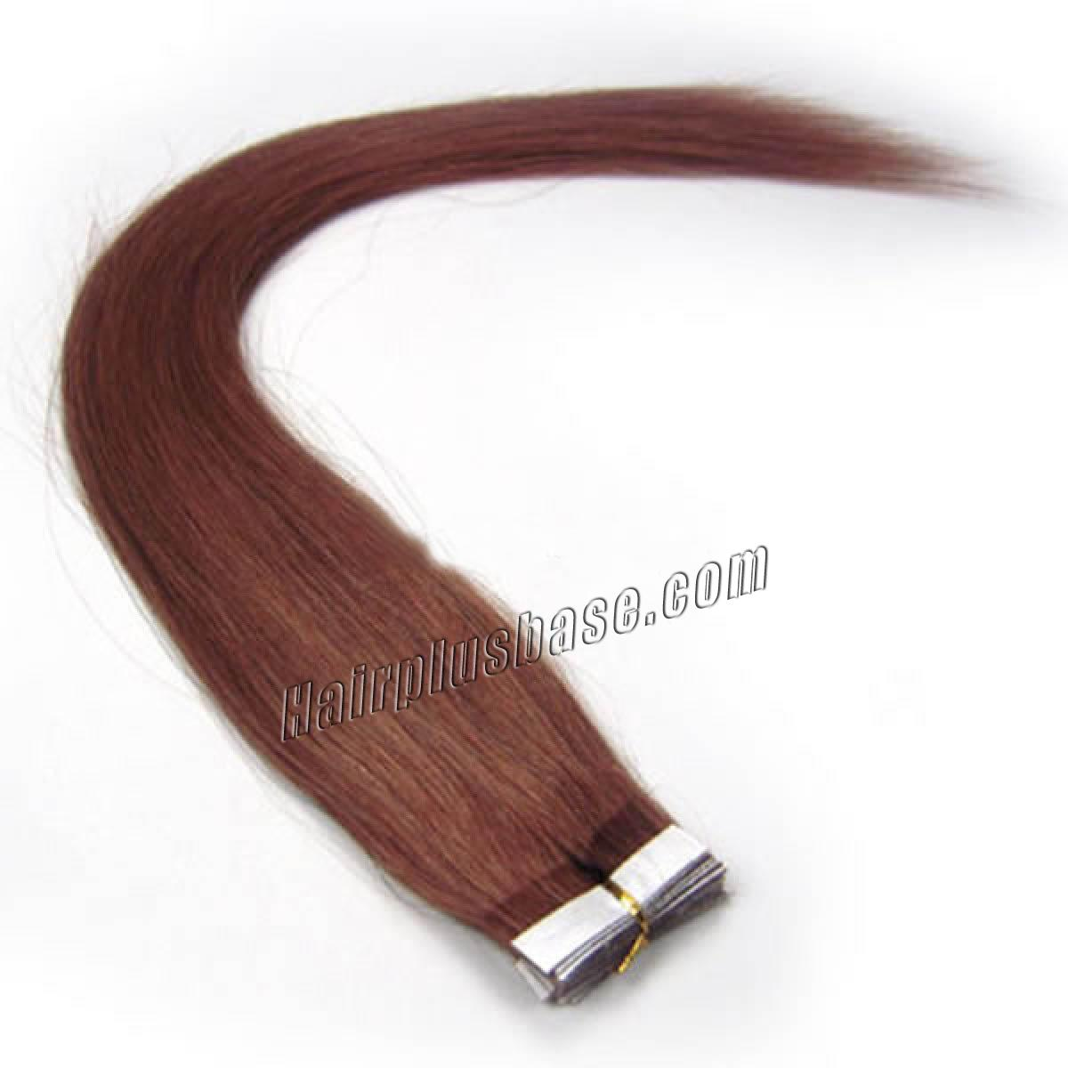 34 Inch 33 Dark Auburn Tape In Human Hair Extensions 20pcs