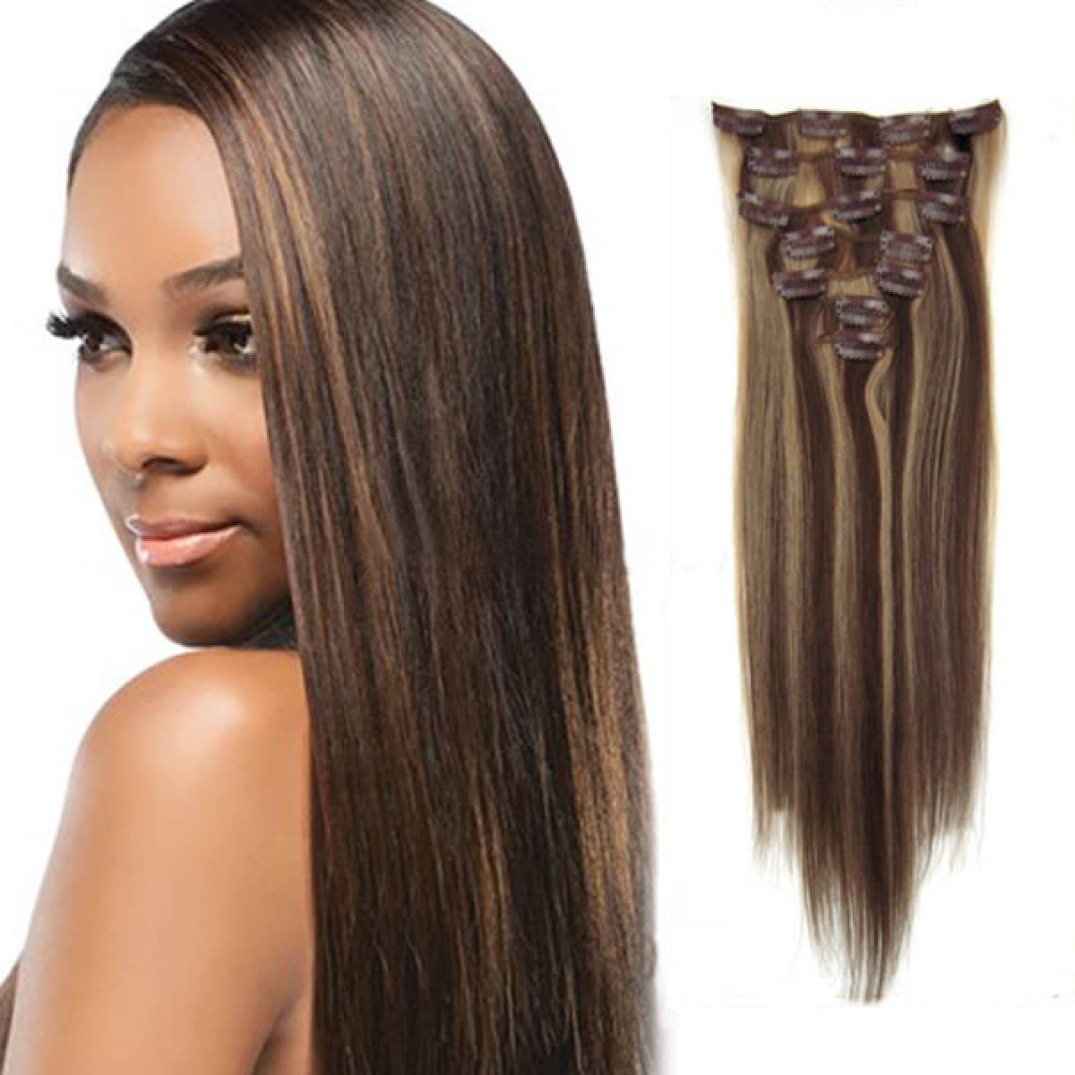 34 Inch 427 Brownblonde Clip In Human Hair Extensions 11pcs