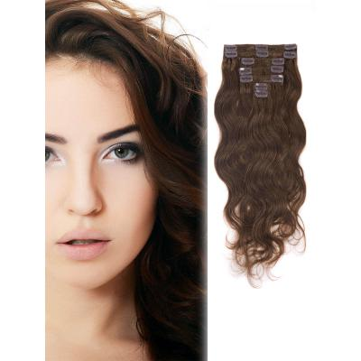 34 Inch #6 Light Brown Clip In Hair Extensions Body Wave 11 Pieces