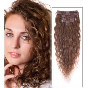 34 Inch #6 Light Brown Clip In Hair Extensions Loose Wavy 11 Pcs