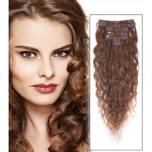 34 Inch #6 Light Brown Splendid Clip In Hair Extensions Loose Wavy 7 Pcs
