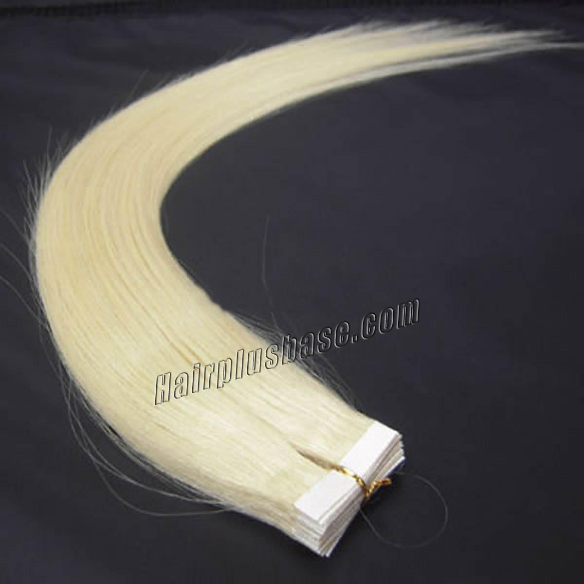 34 Inch 60 White Blonde Tape In Human Hair Extensions 20pcs