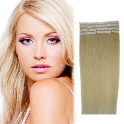34 Inch #60 White Blonde Tape In Human Hair Extensions 20pcs