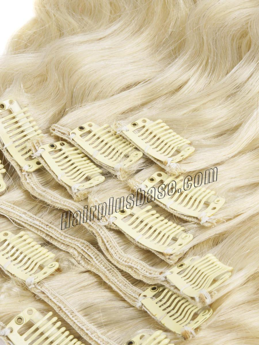 34 inch  613 bleach blonde clip in hair extensions body wave 11 pieces 21151 1v