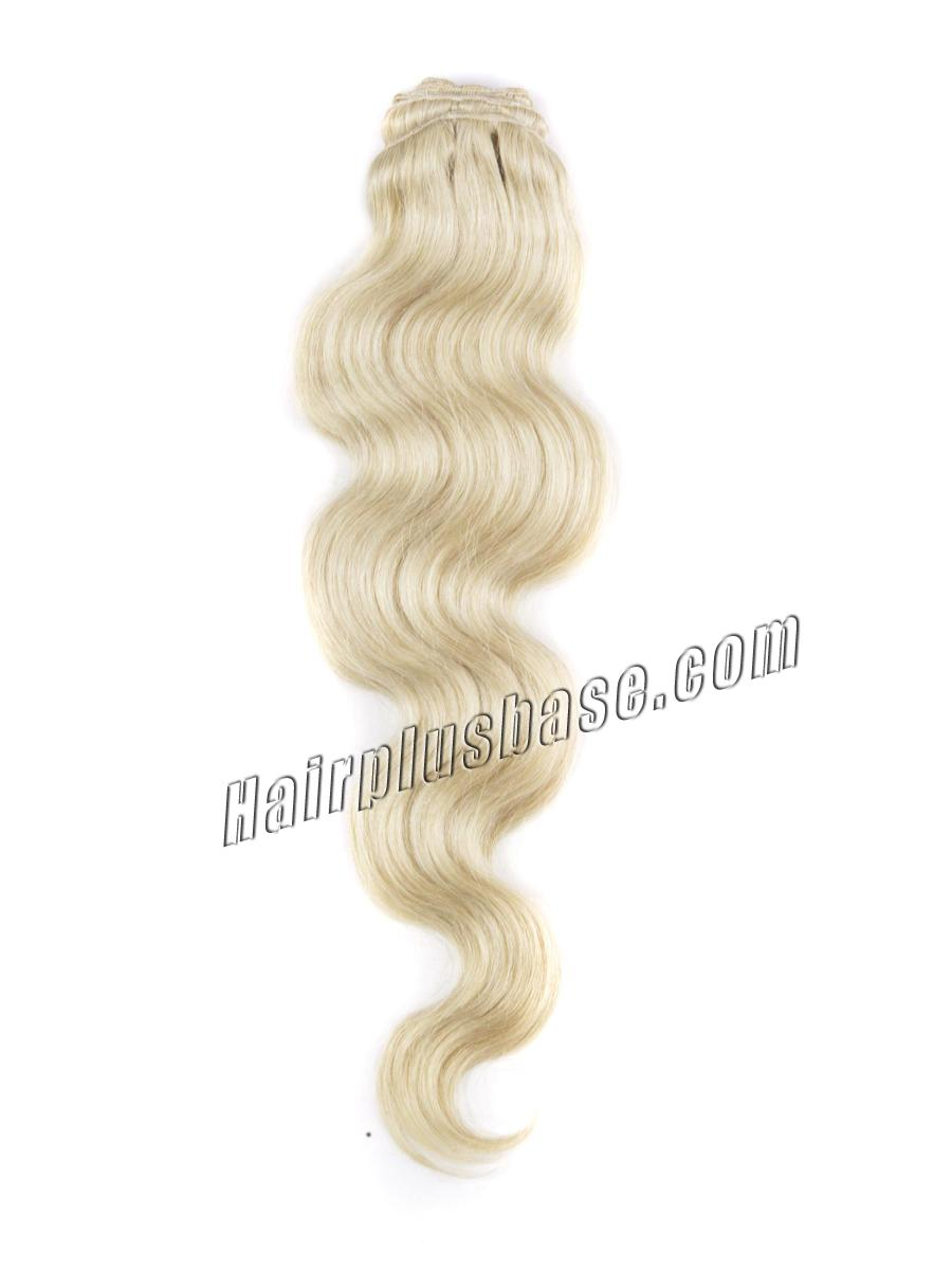 34 inch  613 bleach blonde clip in hair extensions body wave 11 pieces 21151 2v