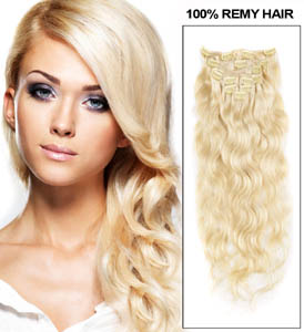 34 inch  613 bleach blonde clip in hair extensions body wave 11 pieces 21151 t