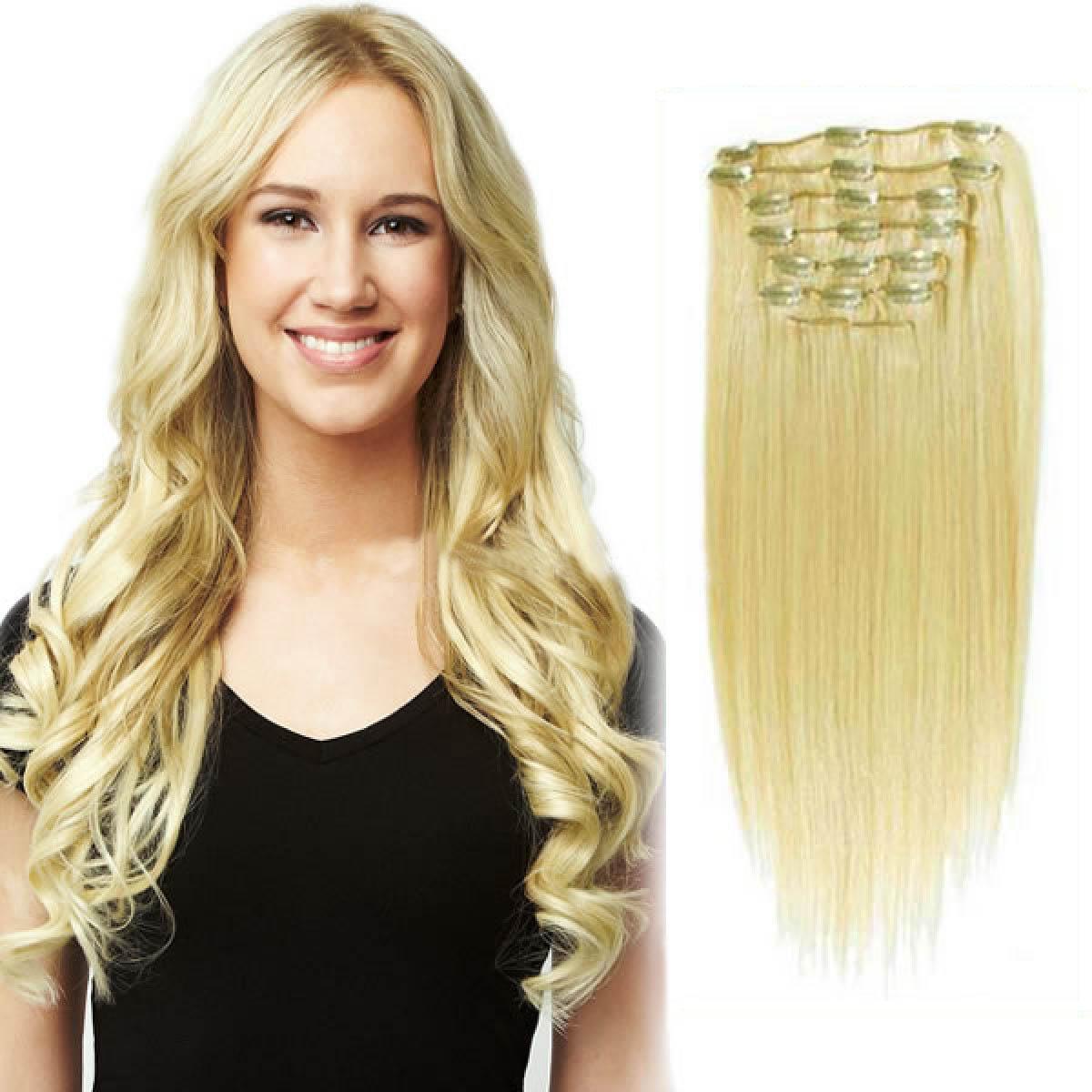 34 inch  613 bleach blonde clip in human hair extensions 11pcs 10043 t