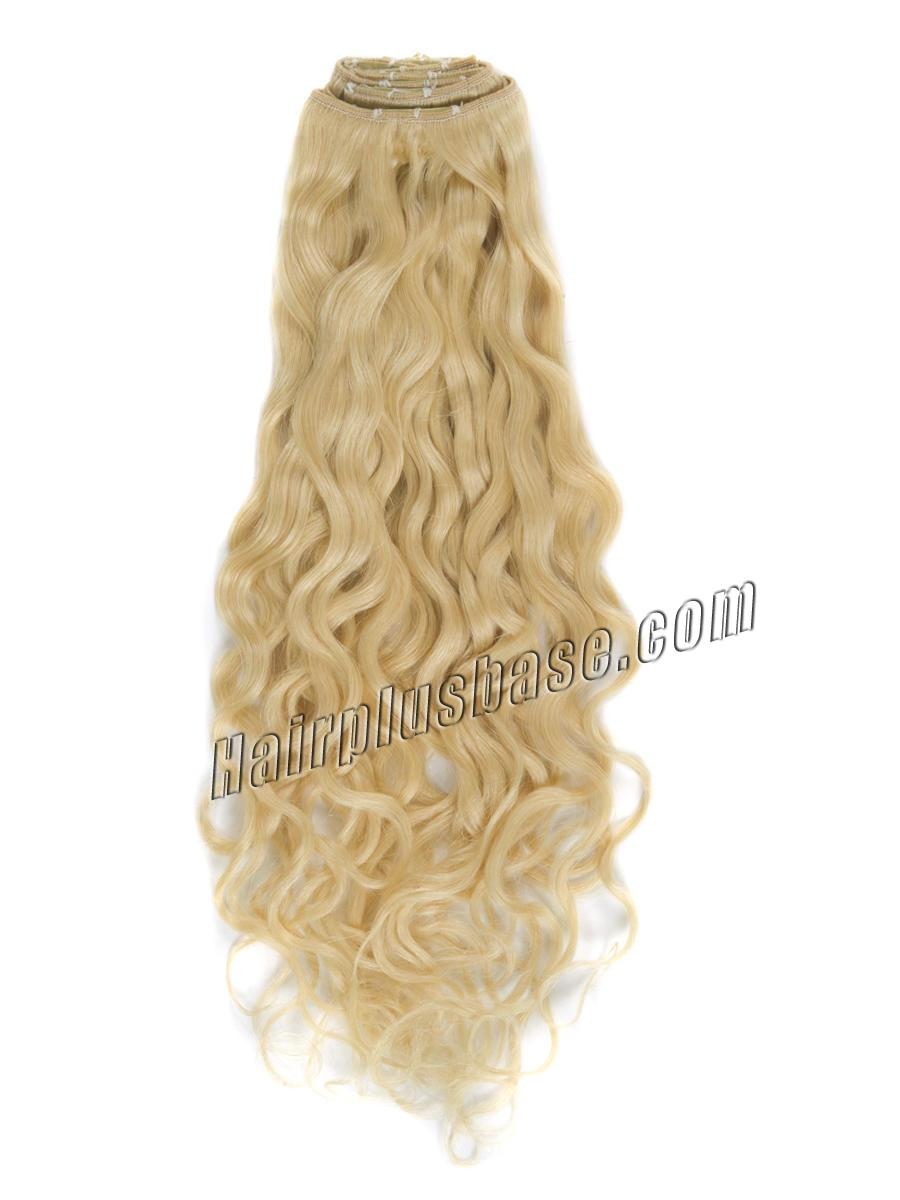 34 inch  613 bleach blonde full head clip in hair extensions body wave 11 pcs 21232 0v