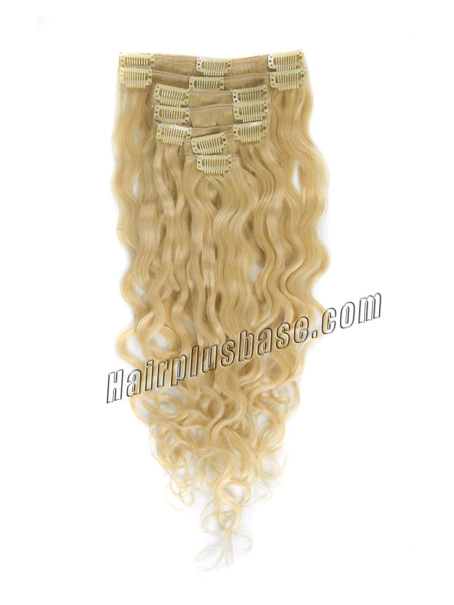 34 inch  613 bleach blonde full head clip in hair extensions body wave 11 pcs 21232 1v