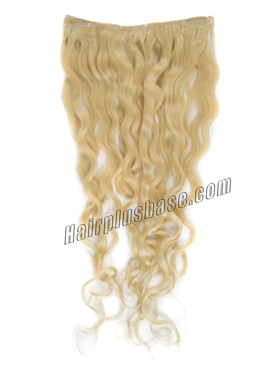 34 inch  613 bleach blonde full head clip in hair extensions body wave 11 pcs 21232 2v
