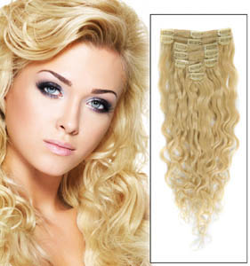 34 Inch #613 Bleach Blonde Full Head Clip In Hair Extensions French Wavy 11 Pcs