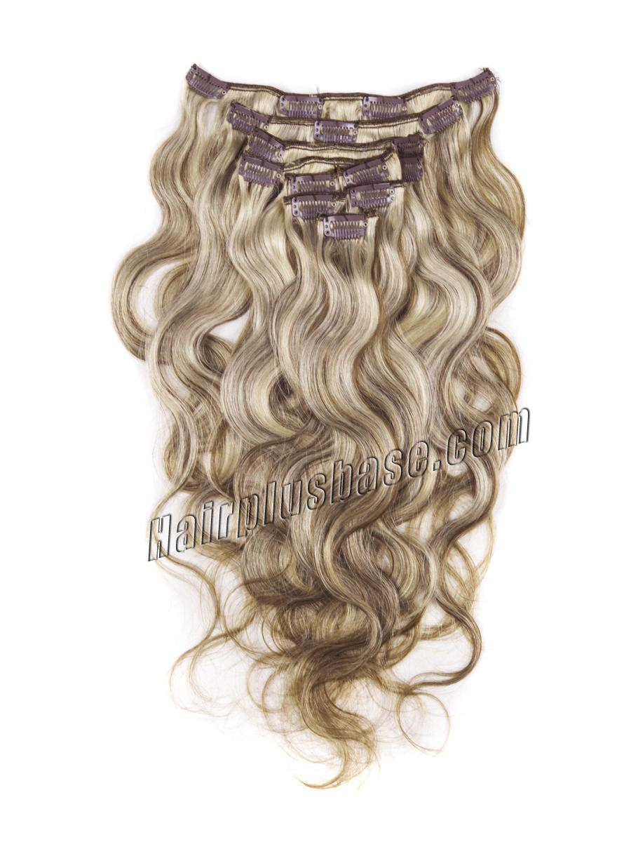 34 inch  8 613 ash brown blonde clip in hair extensions body wave 11 pcs 21169 0v