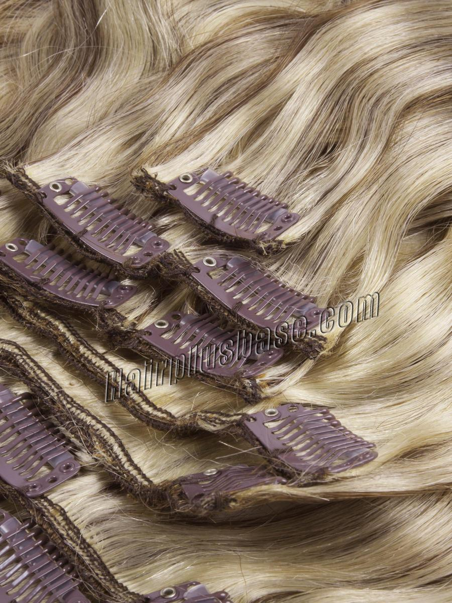 34 inch  8 613 ash brown blonde clip in hair extensions body wave 11 pcs 21169 1v