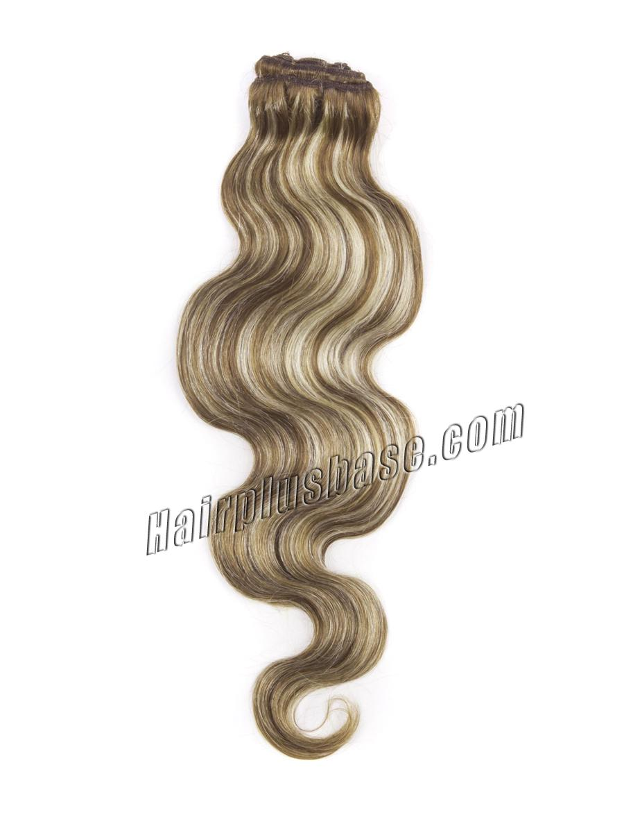 34 inch  8 613 ash brown blonde clip in hair extensions body wave 11 pcs 21169 2v
