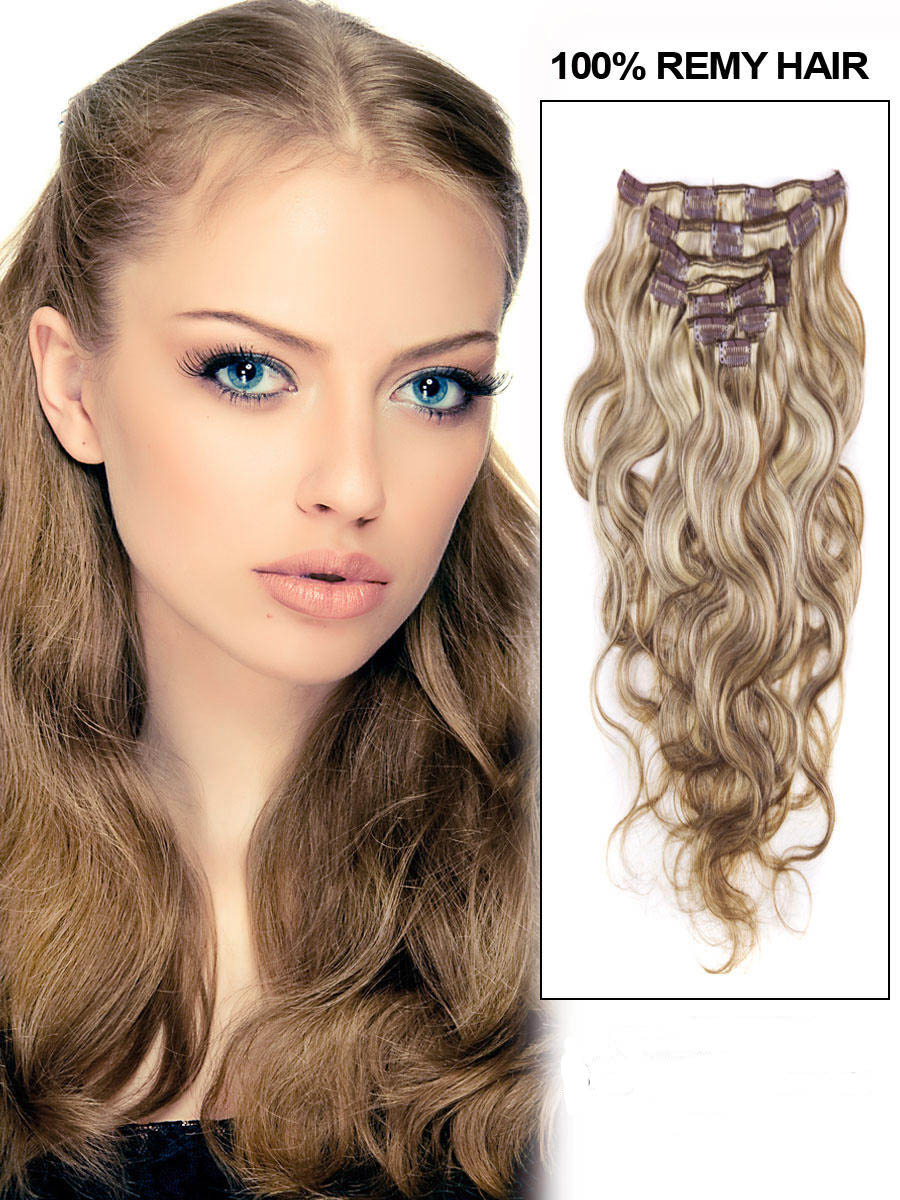34 inch  8 613 ash brown blonde clip in hair extensions body wave 11 pcs 21169 t